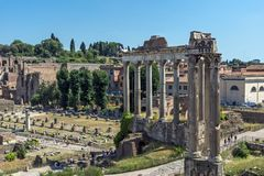 Ruins of Roman Forum in city of Rome, Italy. ROME, ITALY - JUNE 23, 2017: Ruins of Roman Forum in city of Rome, Italy Stock Photo