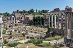 Ruins of Roman Forum in city of Rome, Italy. ROME, ITALY - JUNE 23, 2017: Ruins of Roman Forum in city of Rome, Italy Stock Photos