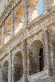 The Ruins of the Roman Forum. Closeup view of the Coliseum in Rome Stock Photos