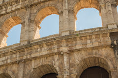 The Ruins of the Roman Forum. Closeup view of the Coliseum in Rome Stock Image