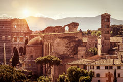 Ruins of Roman Forum and Colosseum, Rome Royalty Free Stock Images