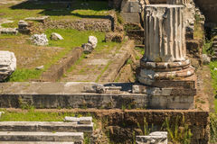 The Ruins of the Roman Forum. Column at Trajan's Marketplace across from the Forum Stock Image