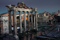 Ruins of the Roman Forum by night Royalty Free Stock Photos