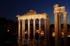 Ruins of the Roman Forum by night Stock Photo