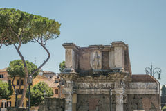 The Ruins of the Roman Forum. The Peristyle Forum of Nerva Stock Photos