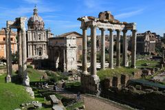 The Ruins of Roman forum, Italy stock images
