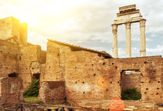 The ruins of the Roman Forum in Rome Stock Images