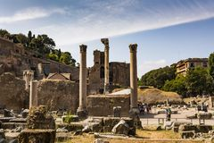 Ruins of the Roman Forum in Rome, Italy. Stock Images