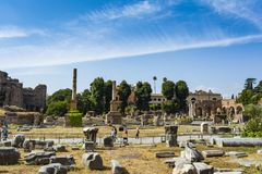 Ruins of the Roman Forum in Rome, Italy. Royalty Free Stock Images