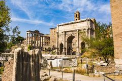 Ruins of the Roman Forum in Rome, Italy. Royalty Free Stock Image