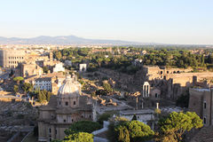 Ruins of Roman Forum. Rome. Top view of Roman Forum. Sunset Stock Image