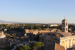 Ruins of Roman Forum. Rome. Top view of Roman Forum. Sunset Royalty Free Stock Photo