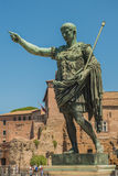 The Ruins of the Roman Forum. The Statue of Augustus Caeser Royalty Free Stock Photo