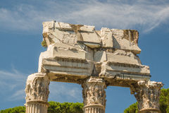 The Ruins of the Roman Forum. The Temple of Castor and Pollux Royalty Free Stock Images
