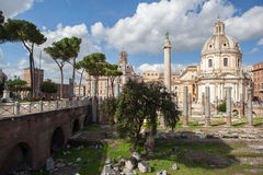 Ruins of Roman Forum, Trajan's column in Rome. Italy Royalty Free Stock Photos