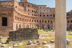 The Ruins of the Roman Forum. Trajan's Marketplace across from the Forum Royalty Free Stock Photo