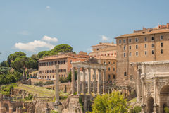 The Ruins of the Roman Forum. View of the Roman Forum Stock Photos