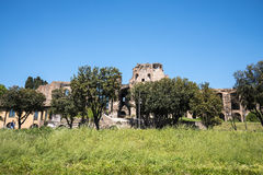 Ruins of Roman Palaces and homes on the Palatine Hill in the city of Rome Royalty Free Stock Photography