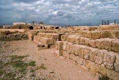 Ruins of roman period in caesarea. Israel stock photos