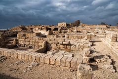 Ruins of roman period in caesarea. Israel royalty free stock photography