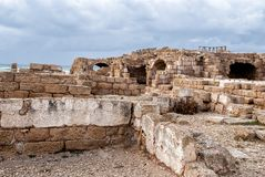 Ruins of roman period in caesarea Royalty Free Stock Photo