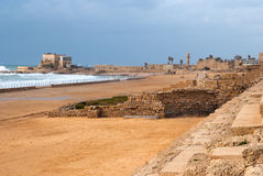 Ruins of roman period in caesarea. Ruins of the ancient Romanian harbor, Caesarea, Israel Royalty Free Stock Image