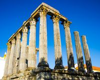 The ruins of a Roman temple of the 1st century in Évora, Portugal Royalty Free Stock Image