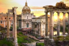 Ruins of Roman`s forum at sunset, ancient government buildings started 7th century BC. Rome. Italy stock photo