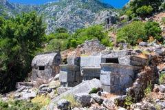 Ruins of the Roman settlement Pinara, Turkey Royalty Free Stock Images