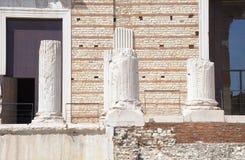 Ruins of the roman temple called Capitolium or Tempio Capitolino in Brescia Italy. Stock Image