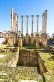 Ruins of the Roman Temple in Cordoba, Andalusia, Spain stock images