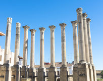 Ruins of the Roman Temple in Cordoba, Andalusia, Spain stock photos