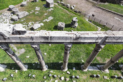 Ruins of the Roman Temple - Imperial Forums from top. Rome (Italy Royalty Free Stock Photography