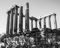 The ruins of a Roman temple of the 1st century in Évora, Portugal Stock Photo
