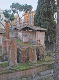The ruins of Roman temples. Ruins of Roman temples in Largo di Torre Argentina is a popular landmark and a home of hundreds of cats, Rome, Italy royalty free stock images