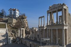 Ruins of Roman theatre of Philippopolis in city of Plovdiv, Bulgaria royalty free stock photos