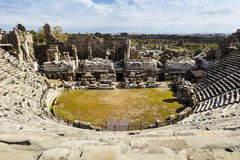 Ruins of Roman theatre in Side, Turkey. Royalty Free Stock Photography