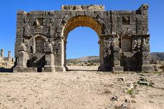 Ruins of the Roman Volubilis city in Morocco Royalty Free Stock Images