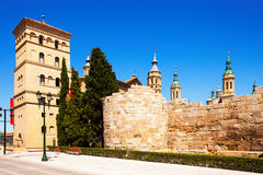 Ruins of Roman Wall and Zuda Tower. Zaragoza Stock Image