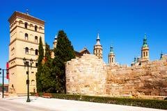 Ruins of Roman Wall and Zuda Tower. Zaragoza. Ruins of Roman Wall and Zuda Tower in summer. Zaragoza, Aragon Stock Image