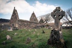 Kilmalkedar church. Dingle Peninsula. Ireland. Ruins of the romanesque church of Kilmalkedar. Dingle Peninsula. county Kerry. Ireland stock image