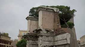 Ruins in Rome, Italy. Shot of damaged and ruined old ruins somewhere in the centre of Rome, Italy stock video footage