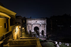 Ruins in Rome at night near Capitoline Hill Stock Images
