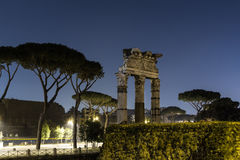 Ruins in Rome at Night. Near Capitoline Hill. There is space for text Royalty Free Stock Photography