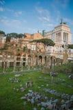 The ruins of Roman Forum, Vittorio Emmanuele, Rome Royalty Free Stock Photos