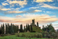 Ruins of Romena Castle. Around two kilometers southwest of Pratovecchio ( Tuscany, Italy), on a hill of 621 meters high set on the right of the river Arno, rise Royalty Free Stock Photos