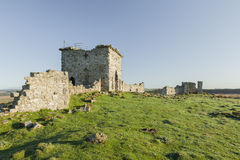 Ruins of Rothley Castle, Northumberland. England.UK. Ruins of Rothley Castle set on top of a moorland hill top in rural Northumberland Royalty Free Stock Photography