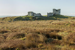 Ruins of Rothley Castle, Northumberland. England.UK. Ruins of Rothley Castle set on top of a moorland hill top in rural Northumberland Royalty Free Stock Images