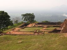 Ruins of the Royal Palace on top of lion rock, Sigiriya, Sri Lanka, UNESCO world heritage Site stock photos