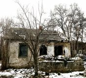 Ruins of a Ruined House. Amidst winter and bare trees Royalty Free Stock Images